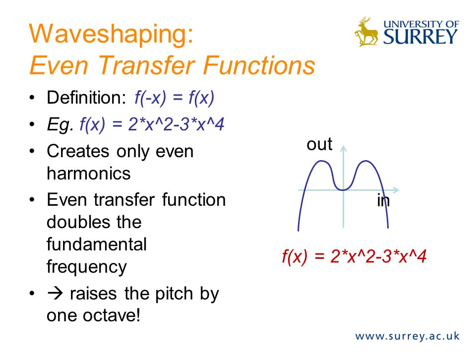 Waveshaping: Odd Transfer Functions Definition: f(-x) = -f(x) Eg, f(x) = x^3 Nearly linear for low amplitude (  low distortion) Highly non-linear for high amplitude (  high distortion) Generates only odd- numbered harmonics.