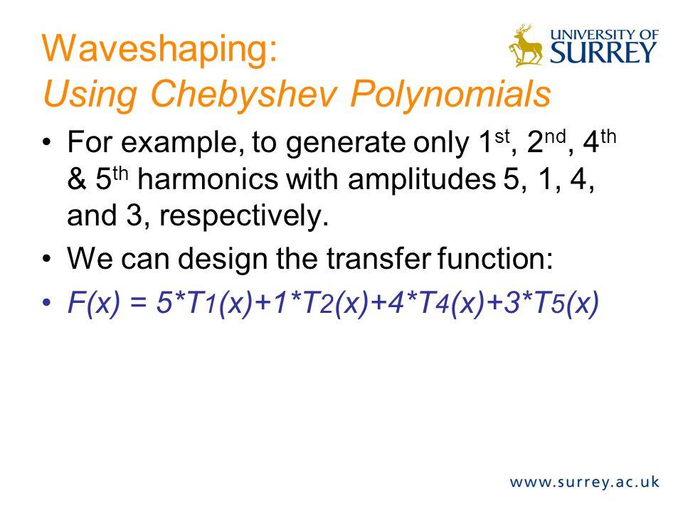 Waveshaping: Chebyshev Polynomials T 0 (x) = 1 T 1 (x) = x T 2 (x) = 2x^2-1 T 3 (x) = 4x^3-3x T 4 (x) = 8x^4-8x^2+1 T 5 (x) = 16x^5-20x^3+5x T 6 (x) = 32x^6-48x^4+18x^2-1 Etc.