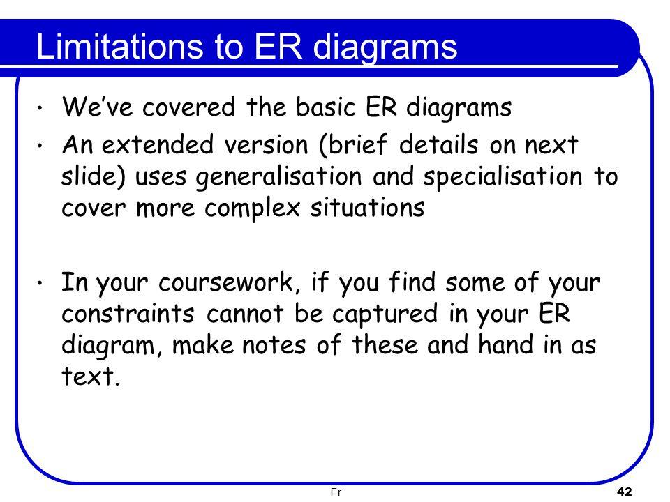 Er 42 Limitations to ER diagrams We've covered the basic ER diagrams An extended version (brief details on next slide) uses generalisation and special