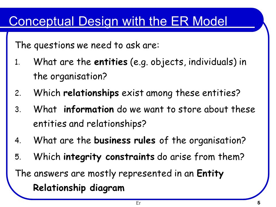 Er 6 ER Diagrams There are quite a few different notations for ER diagrams In year one, we used UML notation Chen and Crow's Foot notations are also commonly used There are others as well.....