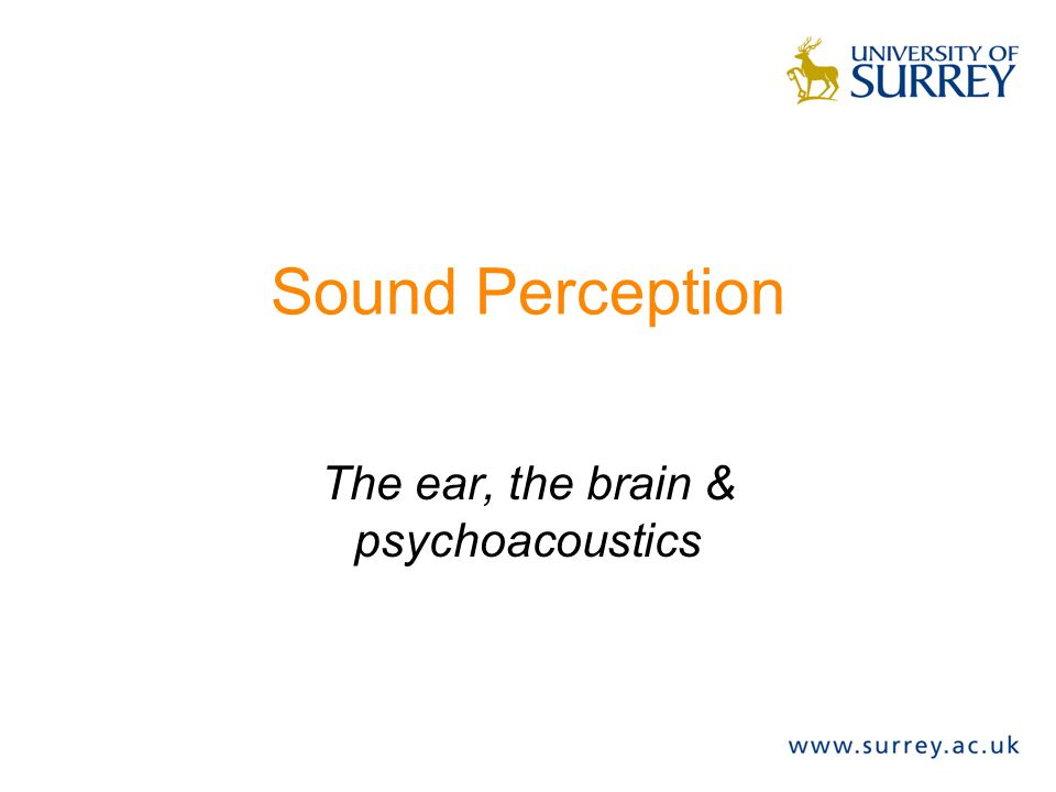 Sound Perception The ear, the brain & psychoacoustics