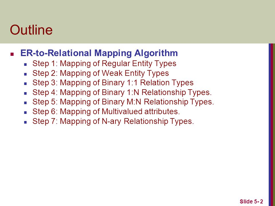 Slide 5- 2 Outline ER-to-Relational Mapping Algorithm Step 1: Mapping of Regular Entity Types Step 2: Mapping of Weak Entity Types Step 3: Mapping of Binary 1:1 Relation Types Step 4: Mapping of Binary 1:N Relationship Types.