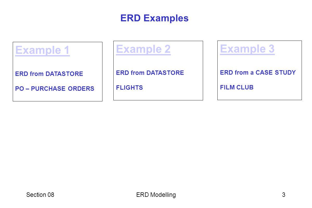 Section 08ERD Modelling14 ER MODEL : WORKED EXAMPLE SOLUTION 1 : ERD FROM DATASTORES FLIGHTS