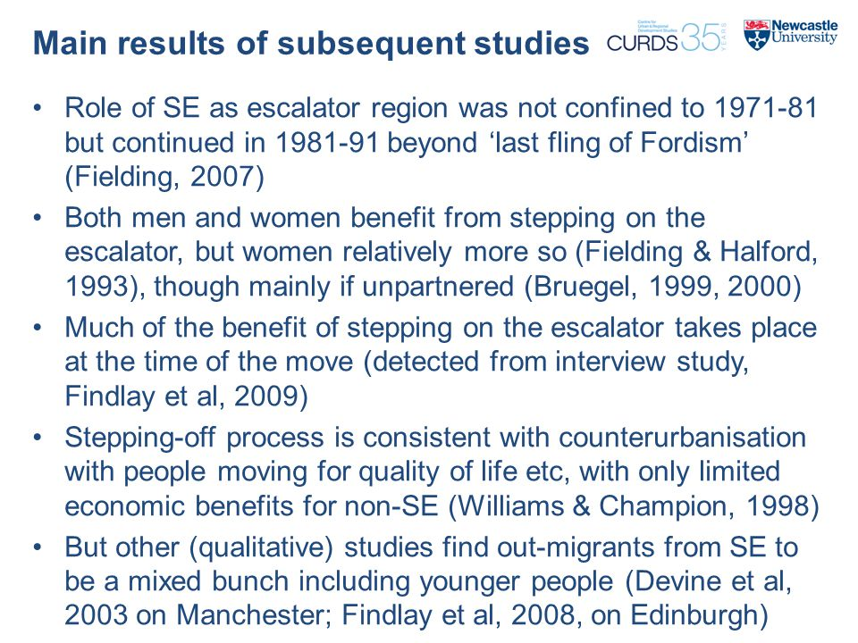 Main results of subsequent studies Role of SE as escalator region was not confined to 1971-81 but continued in 1981-91 beyond 'last fling of Fordism' (Fielding, 2007) Both men and women benefit from stepping on the escalator, but women relatively more so (Fielding & Halford, 1993), though mainly if unpartnered (Bruegel, 1999, 2000) Much of the benefit of stepping on the escalator takes place at the time of the move (detected from interview study, Findlay et al, 2009) Stepping-off process is consistent with counterurbanisation with people moving for quality of life etc, with only limited economic benefits for non-SE (Williams & Champion, 1998) But other (qualitative) studies find out-migrants from SE to be a mixed bunch including younger people (Devine et al, 2003 on Manchester; Findlay et al, 2008, on Edinburgh)