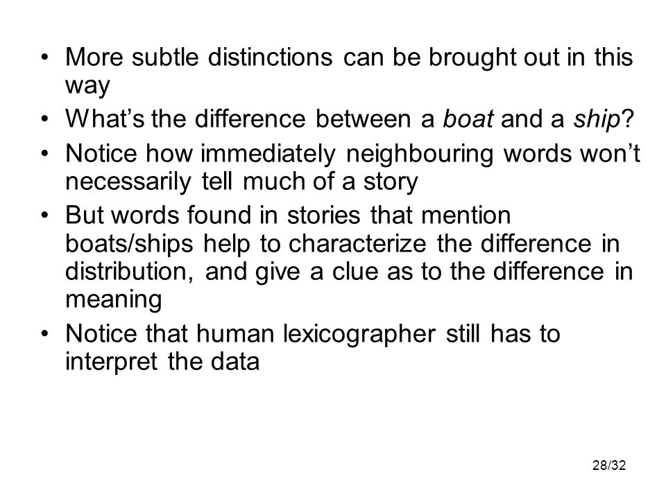 28/32 More subtle distinctions can be brought out in this way What's the difference between a boat and a ship.