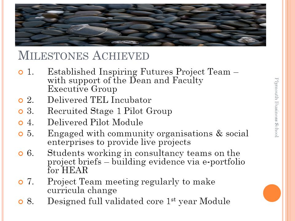M ILESTONES A CHIEVED 1. Established Inspiring Futures Project Team – with support of the Dean and Faculty Executive Group 2.Delivered TEL Incubator 3