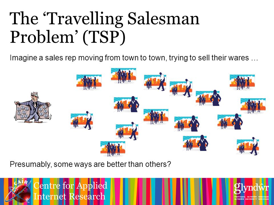 Centre for Applied Internet Research The 'Travelling Salesman Problem' (TSP) Imagine a sales rep moving from town to town, trying to sell their wares … Presumably, some ways are better than others