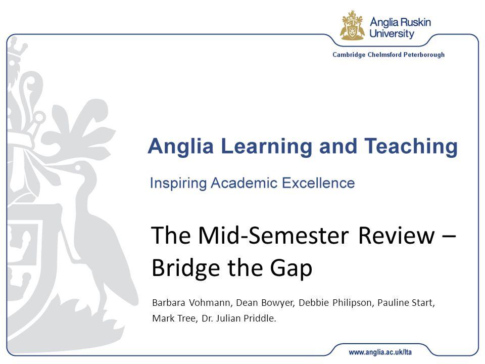 The Mid-Semester Review – Bridge the Gap Barbara Vohmann, Dean Bowyer, Debbie Philipson, Pauline Start, Mark Tree, Dr.