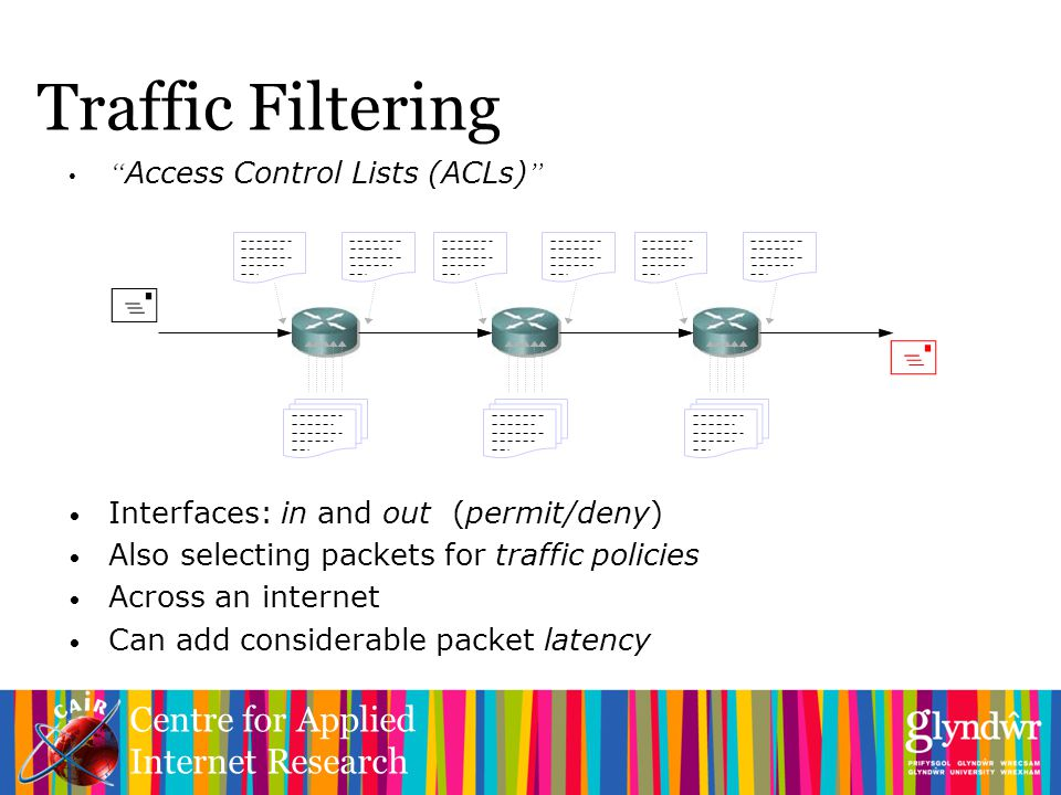 Centre for Applied Internet Research Traffic Filtering Access Control Lists (ACLs) Interfaces: in and out (permit/deny) Also selecting packets for traffic policies Across an internet Can add considerable packet latency  