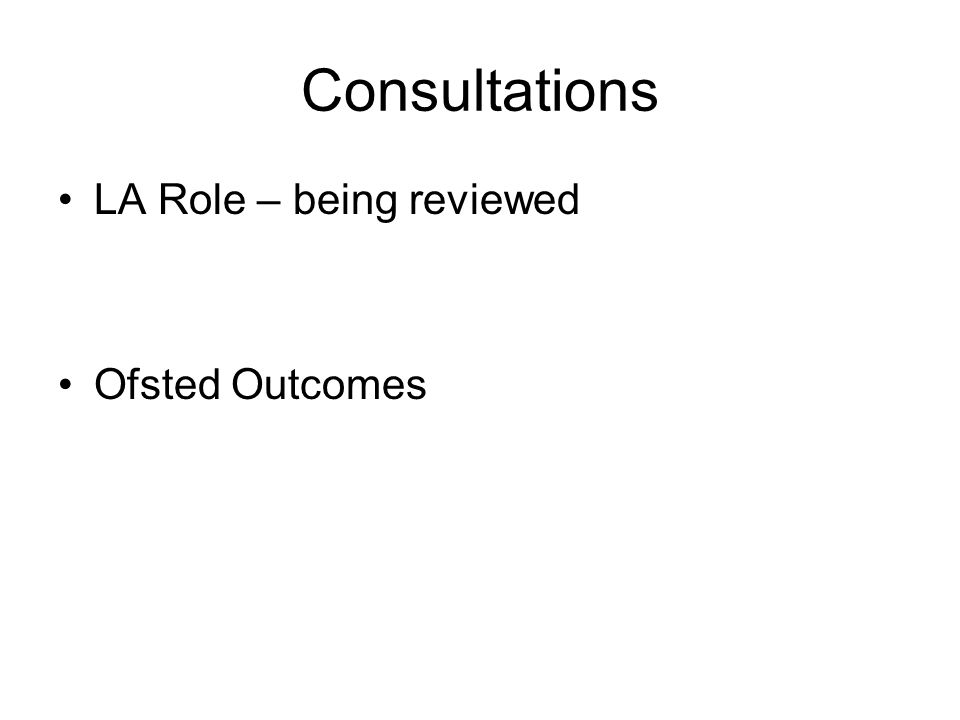 Consultations LA Role – being reviewed Ofsted Outcomes