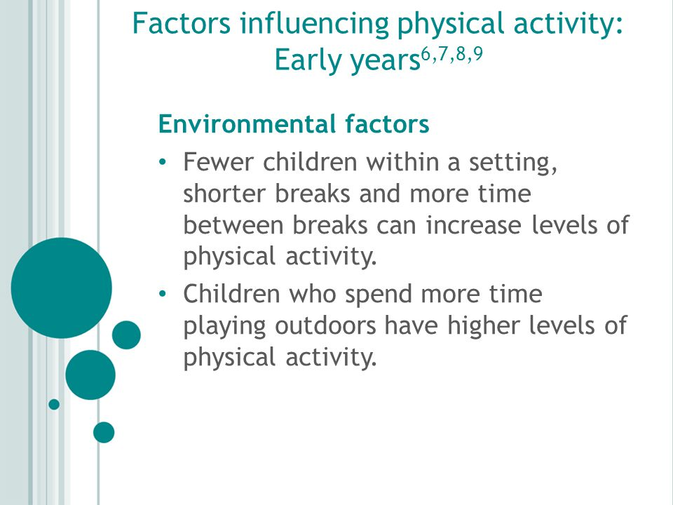 Factors influencing physical activity: Early years 6,7,8,9 Environmental factors Fewer children within a setting, shorter breaks and more time between breaks can increase levels of physical activity.