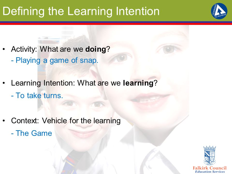Defining the Learning Intention Activity: What are we doing? - Playing a game of snap. Learning Intention: What are we learning? - To take turns. Cont