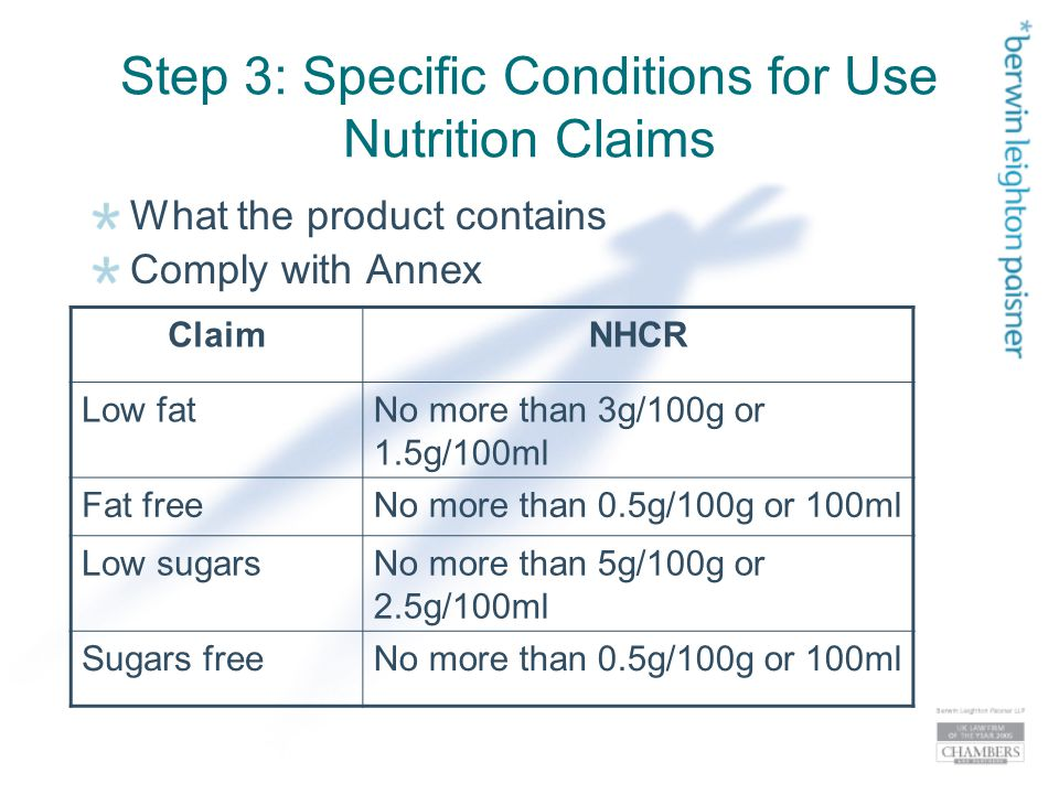 Step 3: Specific Conditions for Use Nutrition Claims What the product contains Comply with Annex ClaimNHCR Low fatNo more than 3g/100g or 1.5g/100ml Fat freeNo more than 0.5g/100g or 100ml Low sugarsNo more than 5g/100g or 2.5g/100ml Sugars freeNo more than 0.5g/100g or 100ml