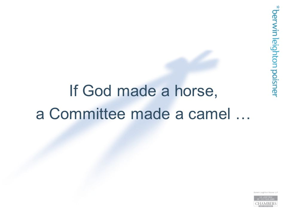 If God made a horse, a Committee made a camel …