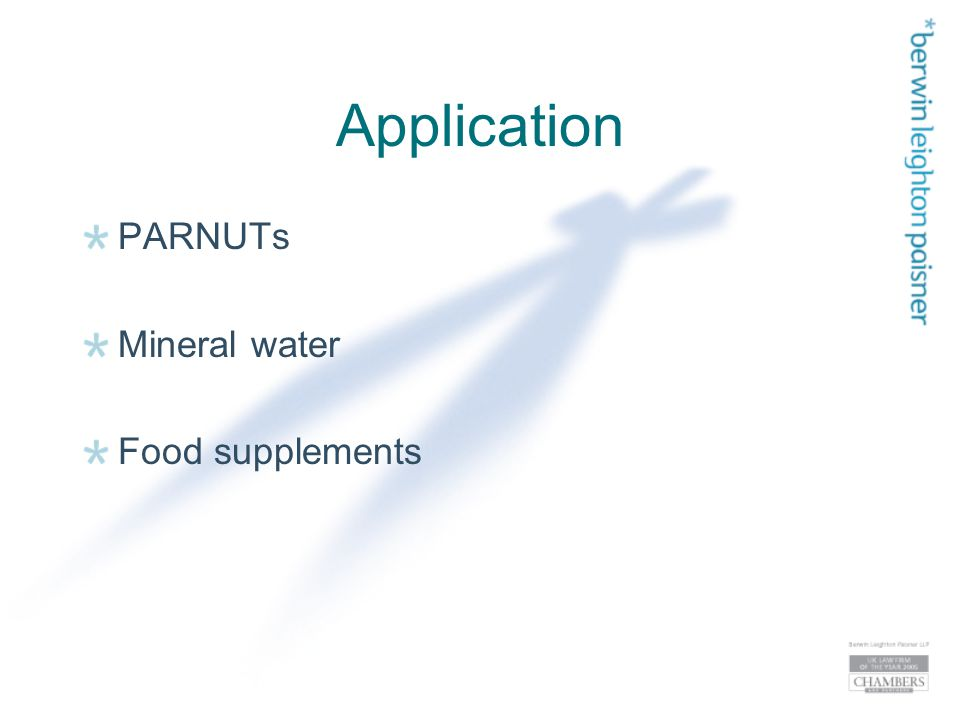 Application PARNUTs Mineral water Food supplements