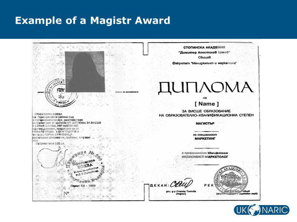 Example of a Magistr Award