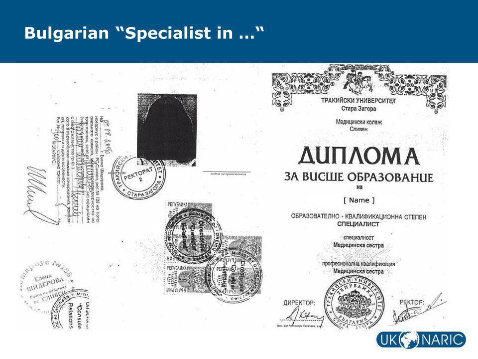 """Bulgarian """"Specialist in …"""""""