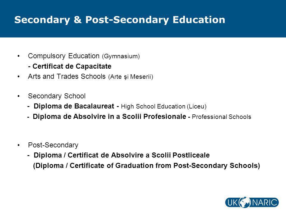 Secondary & Post-Secondary Education Compulsory Education (Gymnasium) - Certificat de Capacitate Arts and Trades Schools (Arte şi Meserii) Secondary S