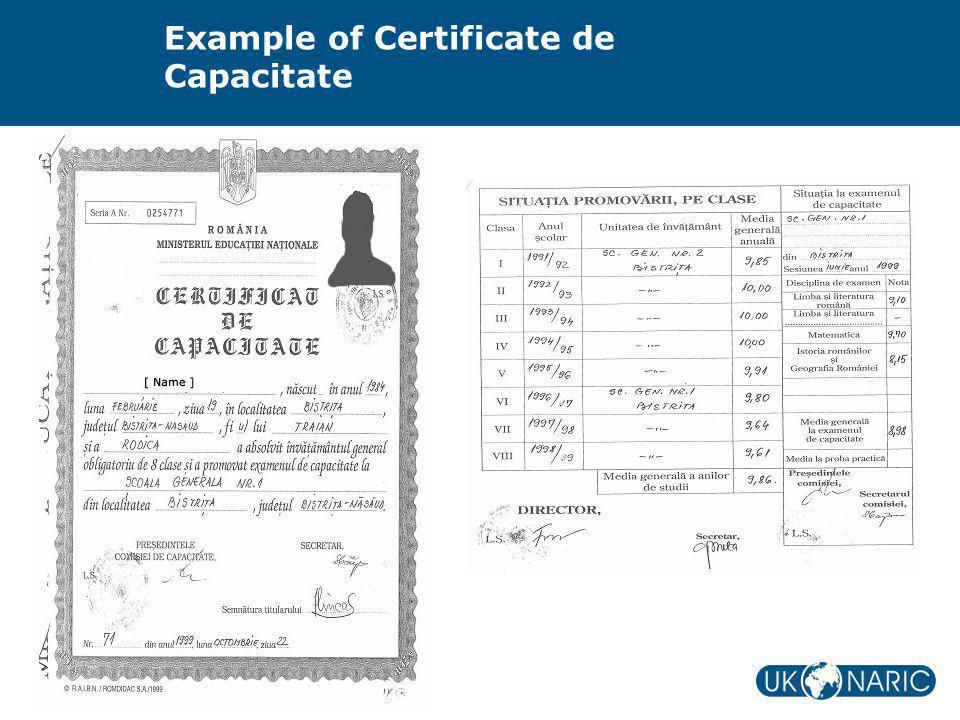 Example of Certificate de Capacitate