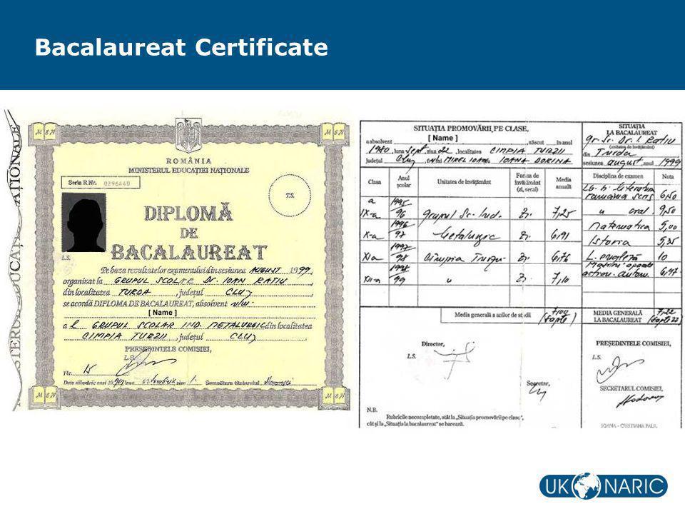Bacalaureat Certificate