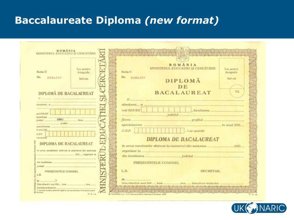 Baccalaureate Diploma (new format)