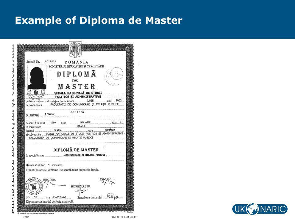 Example of Diploma de Master