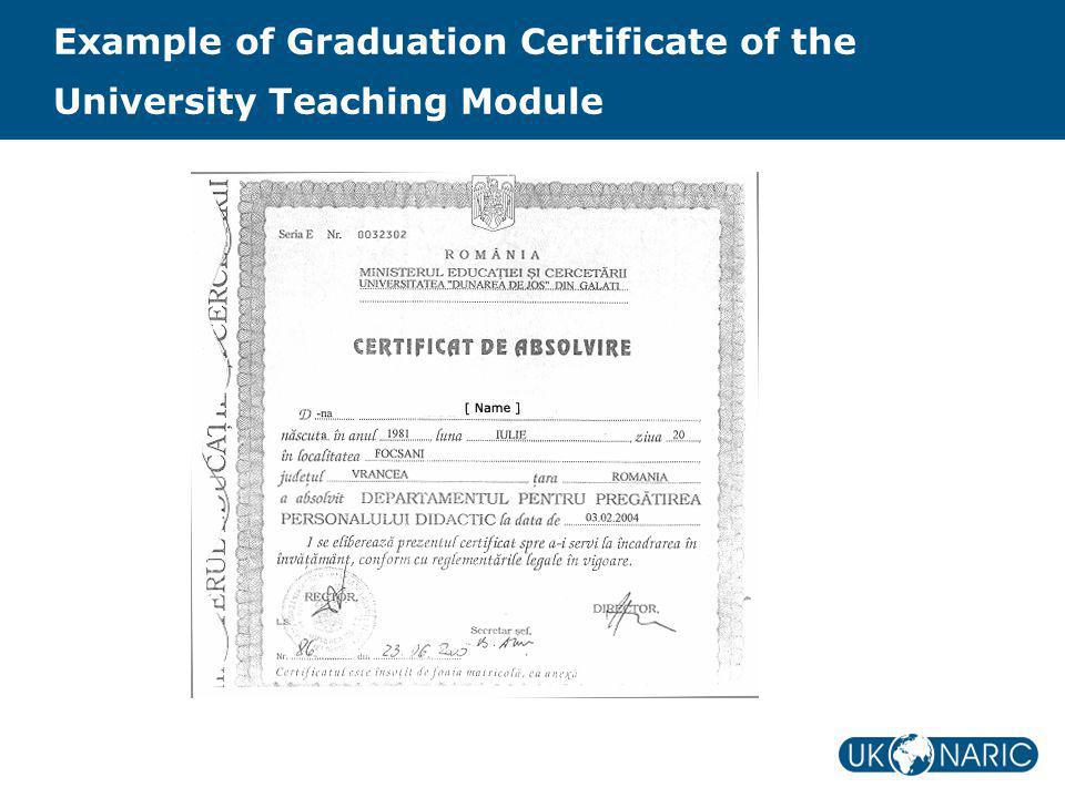 Example of Graduation Certificate of the University Teaching Module