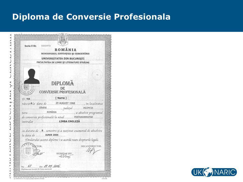 Diploma de Conversie Profesionala