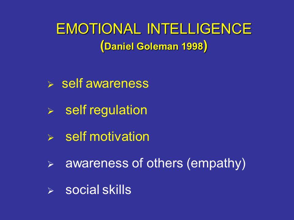 EMOTIONAL INTELLIGENCE ( Daniel Goleman 1998 )  self awareness  self regulation  self motivation  awareness of others (empathy)  social skills