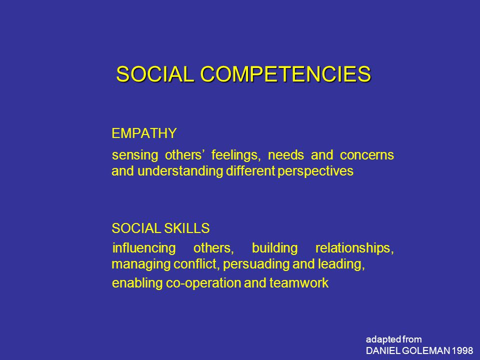 SOCIAL COMPETENCIES EMPATHY sensing others' feelings, needs and concerns and understanding different perspectives SOCIAL SKILLS influencing others, building relationships, managing conflict, persuading and leading, enabling co-operation and teamwork adapted from DANIEL GOLEMAN 1998
