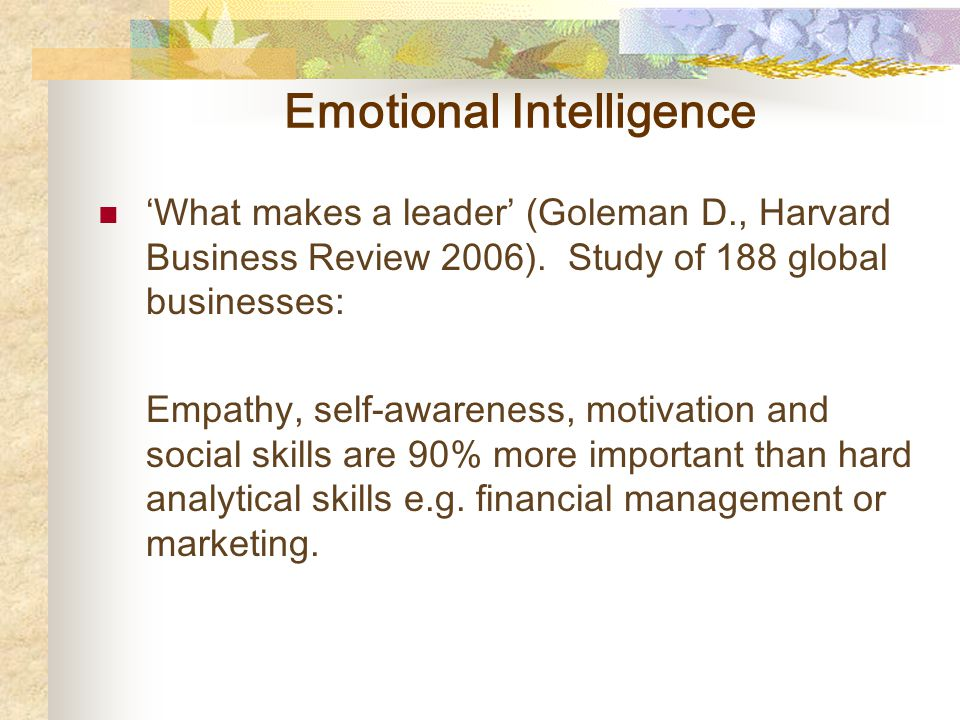 Emotional Intelligence 'What makes a leader' (Goleman D., Harvard Business Review 2006).