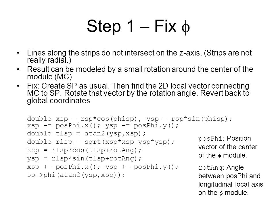 Step 1 – Fix  Lines along the strips do not intersect on the z-axis.
