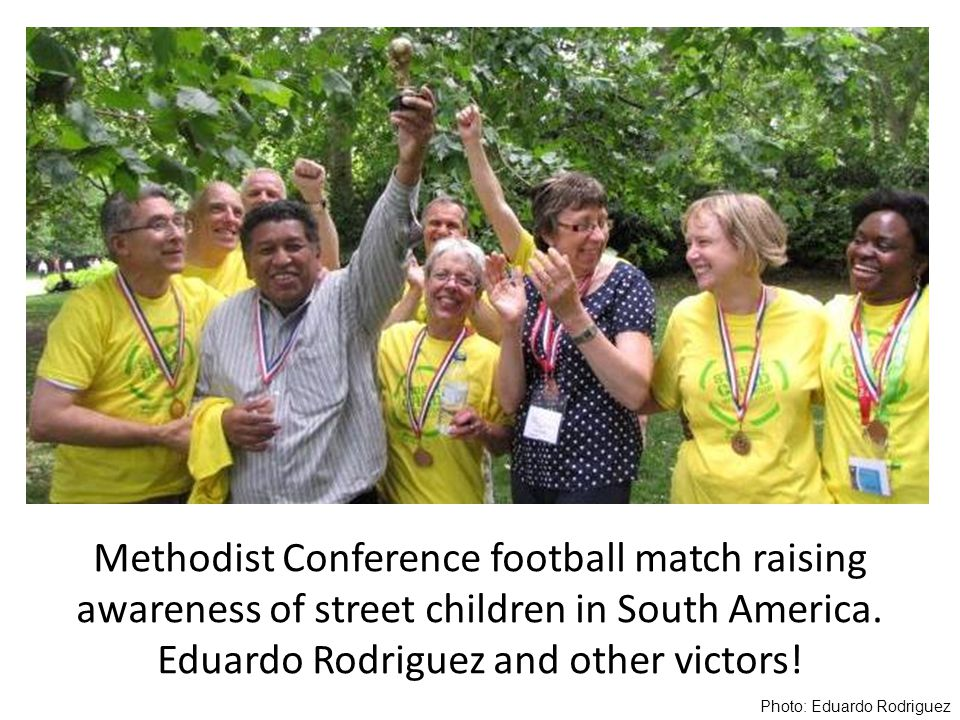 Methodist Conference football match raising awareness of street children in South America.