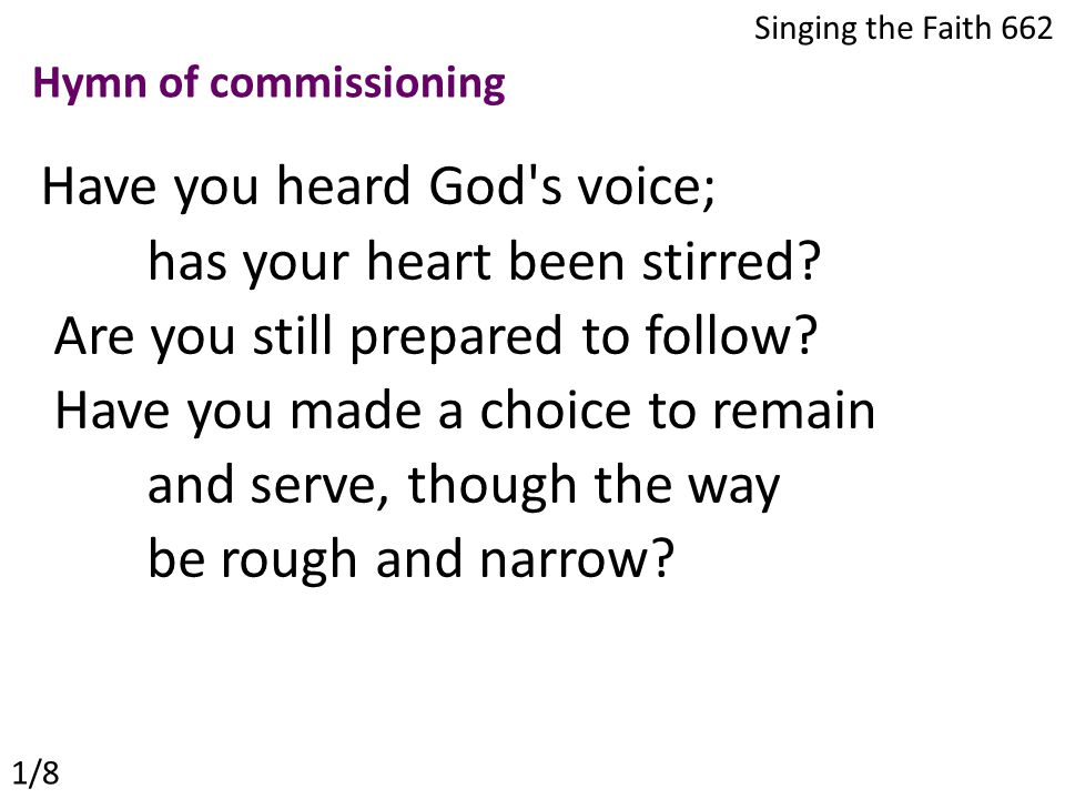 Have you heard God s voice; has your heart been stirred.