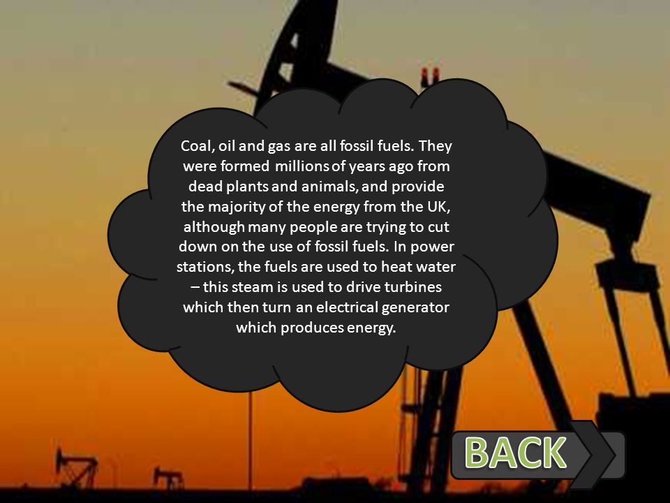 Coal, oil and gas are all fossil fuels.