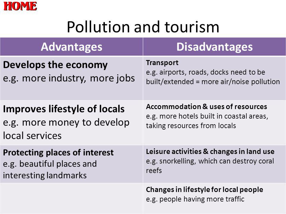 Pollution and tourism AdvantagesDisadvantages Develops the economy e.g.