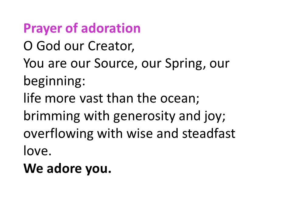 Prayer of adoration O God our Creator, You are our Source, our Spring, our beginning: life more vast than the ocean; brimming with generosity and joy;