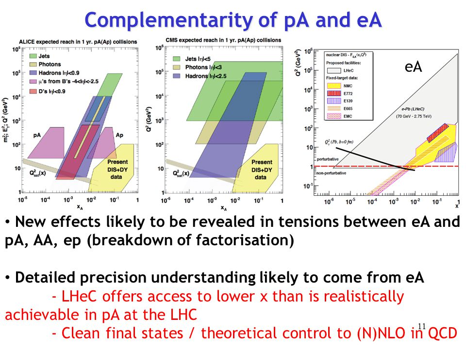 Complementarity of pA and eA New effects likely to be revealed in tensions between eA and pA, AA, ep (breakdown of factorisation) Detailed precision understanding likely to come from eA - LHeC offers access to lower x than is realistically achievable in pA at the LHC - Clean final states / theoretical control to (N)NLO in QCD eA 11