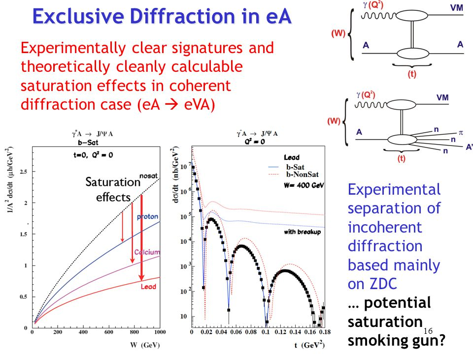 Exclusive Diffraction in eA Experimentally clear signatures and theoretically cleanly calculable saturation effects in coherent diffraction case (eA  eVA) Experimental separation of incoherent diffraction based mainly on ZDC … potential saturation smoking gun.