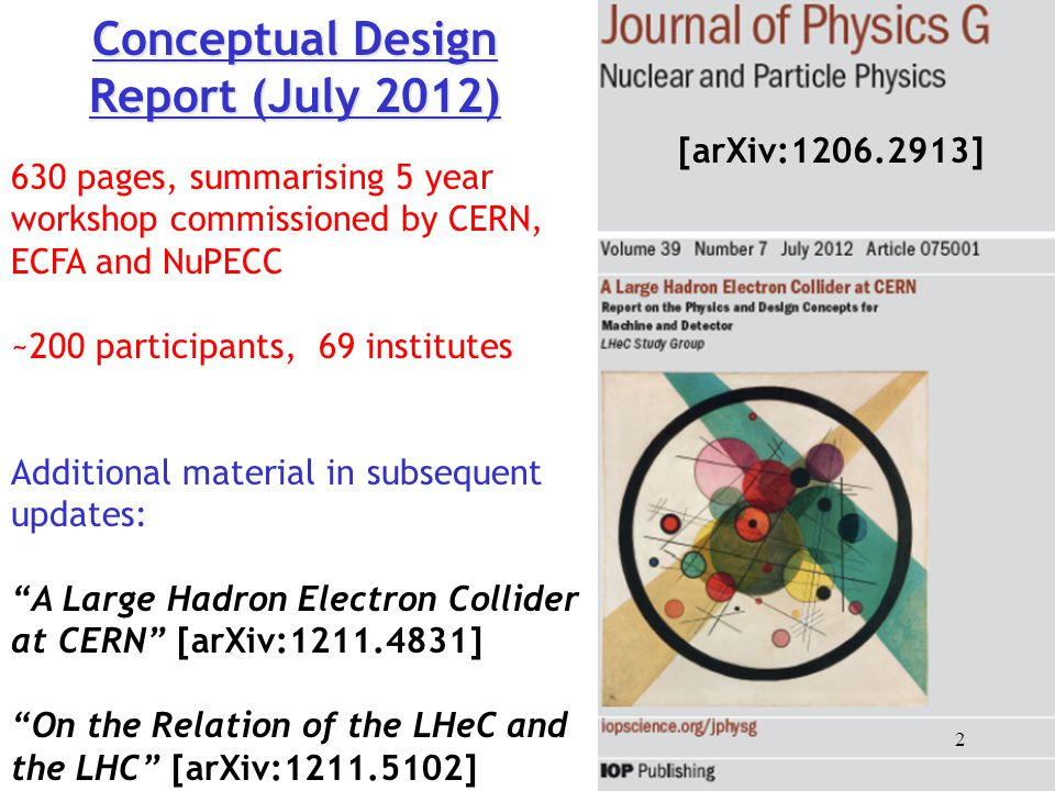 Conceptual Design Report (July 2012) 630 pages, summarising 5 year workshop commissioned by CERN, ECFA and NuPECC ~200 participants, 69 institutes Add