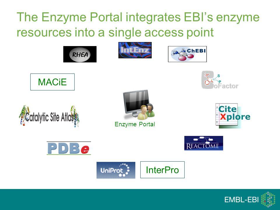 Enzyme Portal The Enzyme Portal integrates EBI's enzyme resources into a single access point MACiEInterPro
