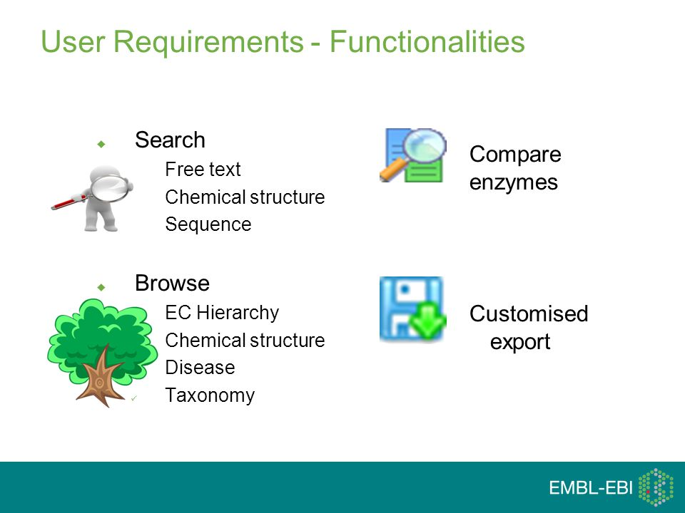 User Requirements - Functionalities  Search Free text Chemical structure Sequence  Browse EC Hierarchy Chemical structure Disease Taxonomy Compare enzymes Customised export