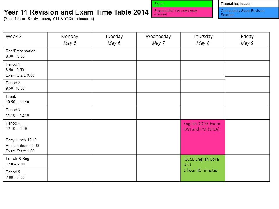 Year 11 Revision and Exam Time Table 2014 (Year 12s on Study Leave, Y11 & Y13s in lessons) Exam Presentation (Hall unless stated otherwise) Timetabled lesson Compulsory Super Revision Session Week 2Monday May 5 Tuesday May 6 Wednesday May 7 Thursday May 8 Friday May 9 Reg/Presentation 8.30 – 8.50 Period Exam Start: 9.00 Period Break – Period – Period – 1.10 Early Lunch Presentation Exam Start: 1.00 English IGCSE Exam KWI and PM (SFSA) Lunch & Reg 1.10 – 2.00 IGCSE English Core Unit 1 hour 45 minutes Period – 3.00