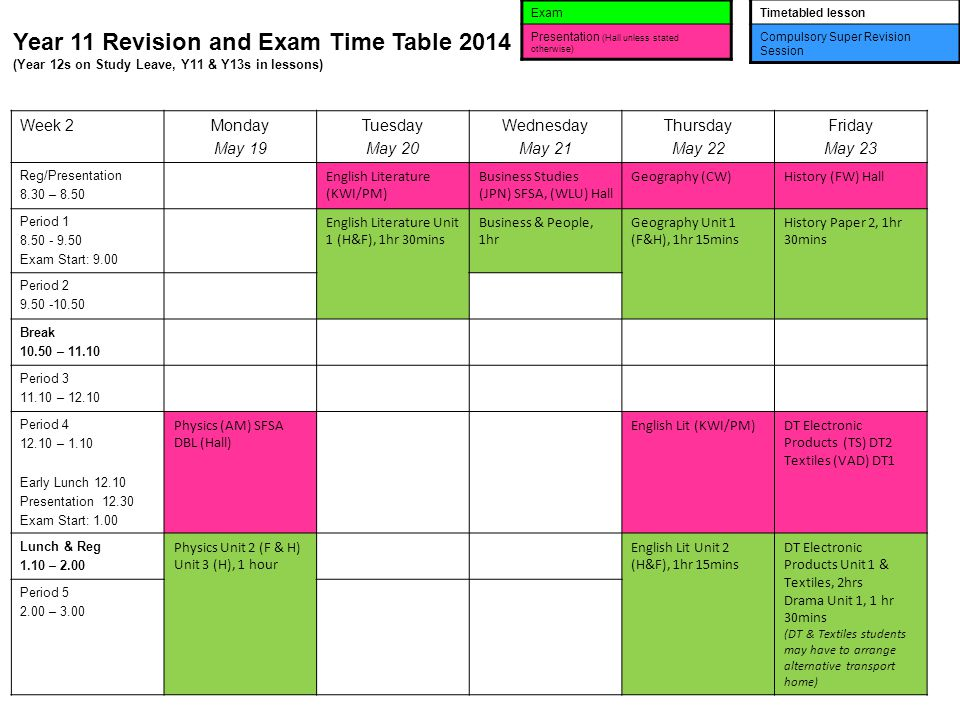 Year 11 Revision and Exam Time Table 2014 (Year 12s on Study Leave, Y11 & Y13s in lessons) Exam Presentation (Hall unless stated otherwise) Timetabled