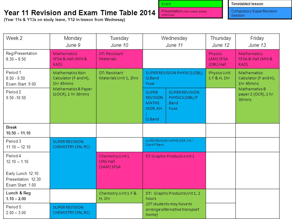 Year 11 Revision and Exam Time Table 2014 (Year 11s & Y13s on study leave, Y12 in lesson from Wednesay) Exam Presentation (Hall unless stated otherwis