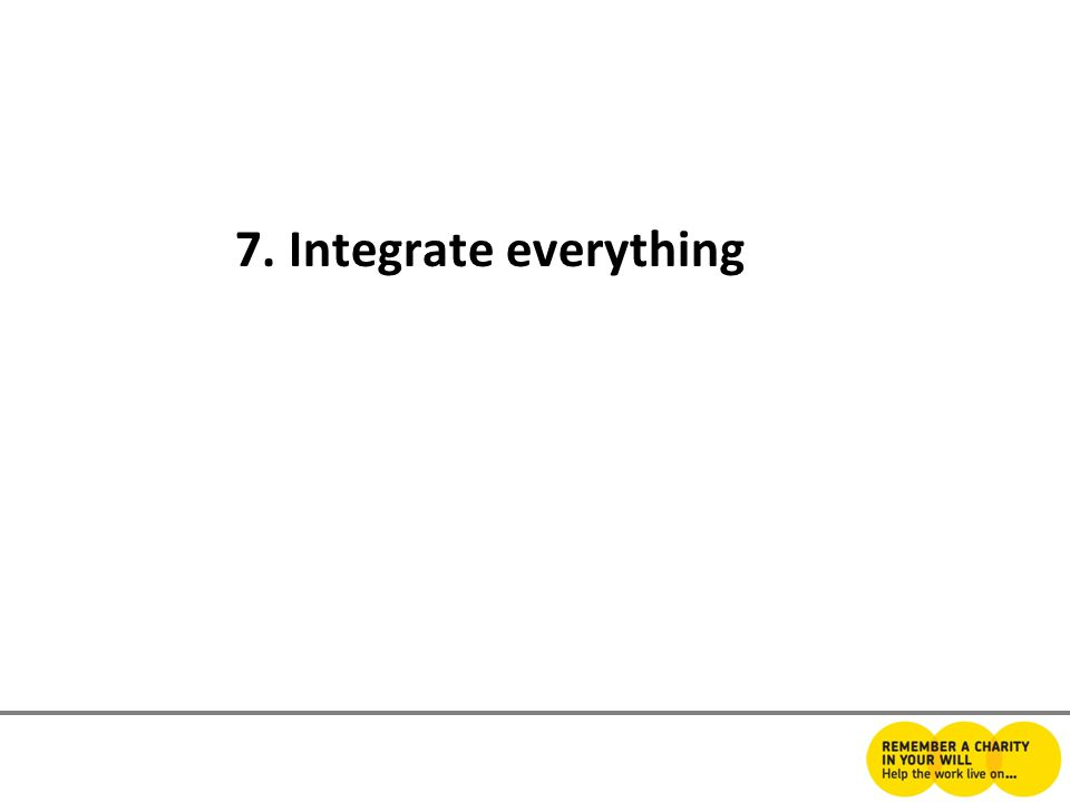 7. Integrate everything