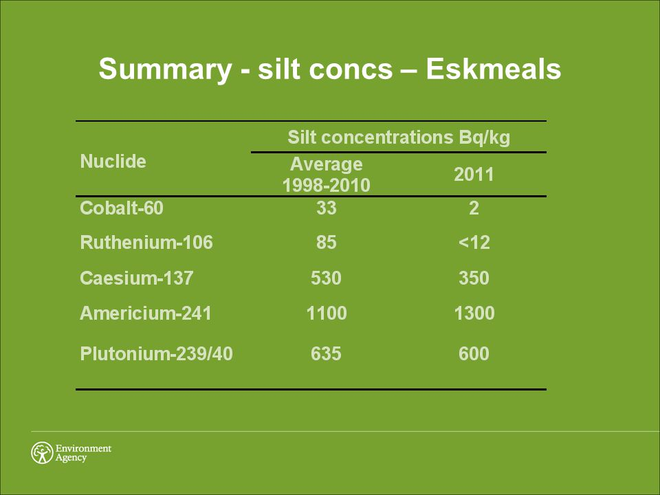 Summary - silt concs – Eskmeals
