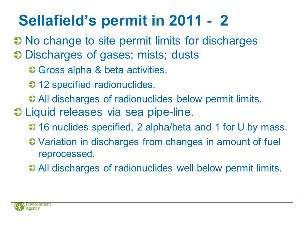 Sellafield's permit in 2011 - 2 No change to site permit limits for discharges Discharges of gases; mists; dusts Gross alpha & beta activities. 12 spe
