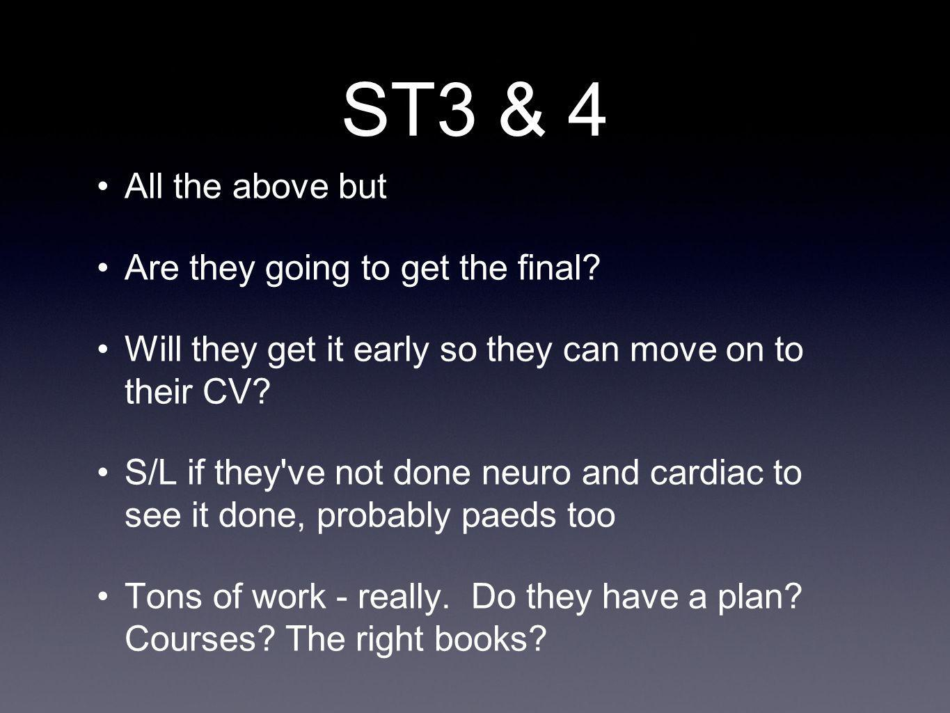 ST3 & 4 All the above but Are they going to get the final? Will they get it early so they can move on to their CV? S/L if they've not done neuro and c