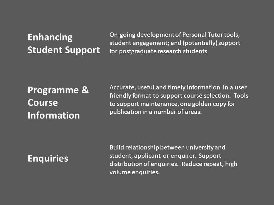 Enhancing Student Support On-going development of Personal Tutor tools; student engagement; and (potentially) support for postgraduate research studen